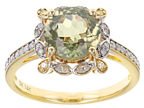 Photo of 1.70ct Round Color Change Turkish Diaspore With .10ctw Round  Diamond Accent 14k Yellow Gold Ring - Size 6