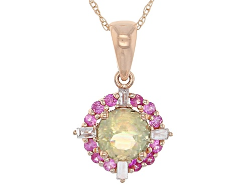 Photo of 1.03ctw Turkish Diaspore with Pink Sapphire and Diamond 14kt Rose Gold Pendant with Chain