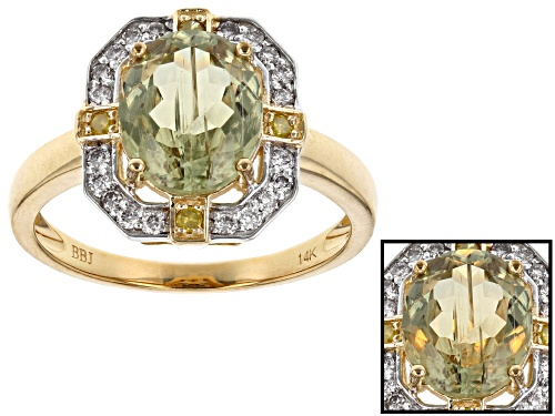 Photo of 2.21ct Turkish Diaspore With .26ctw White & Yellow Diamond Accent 14k Yellow Gold Ring - Size 7