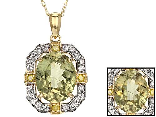 Photo of 2.21ct Oval Turkish Diaspore W/.26Ctw White Yellow Diamond 14k Yellow Gold Pendant W/Chain.