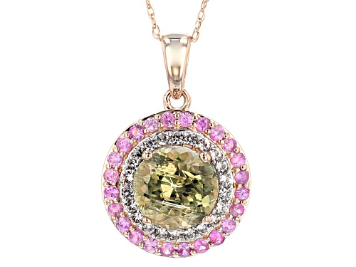 Photo of 1.73ct Turkish Diaspore, .34ctw Pink Sapphire & .33ctw White Zircon 14k Rose Gold Pendant W/Chain