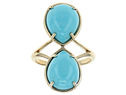 Photo of 12x10mm Pear Shape Cabochon Turquoise 14k Yellow Gold 2-Stone Ring - Size 7