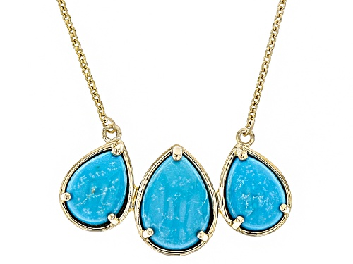 Photo of 10x7mm And 8x6mm Pear Shaped Cabochon Turquoise 14k Yellow Gold 3-Stone Necklace - Size 18
