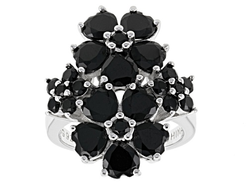 Photo of 6.49ctw Heart Shape And Round Black Spinel Sterling Silver Floral Ring - Size 5
