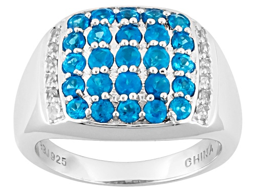 Photo of 1.04ctw Round Neon Apatite With .21ctw Round White Zircon Sterling Silver Ring - Size 8
