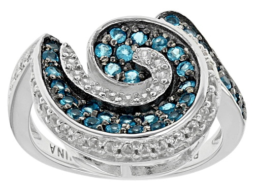 Photo of .43ctw Round Neon Apatite With .39ctw Round White Zircon Sterling Silver Ring - Size 8