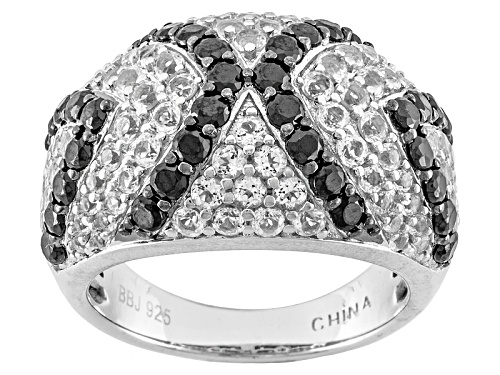 Photo of 1.53ctw Round Black Spinel With 1.66ctw Round White Topaz Sterling Silver Dome Ring - Size 8