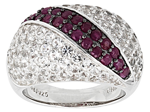 Photo of .85ctw Round Mahaleo® Ruby With 3.15ctw Round White Topaz Sterling Silver Dome Ring - Size 7