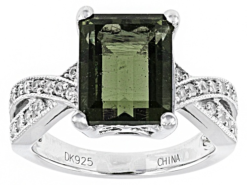 Photo of 2.10ct Emerald Cut Moldavite And .23ctw Round White Zircon Sterling Silver Ring - Size 11