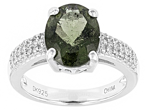 Photo of 1.49ct Oval Moldavite And .24ctw Round White Zircon Sterling Silver Ring - Size 8