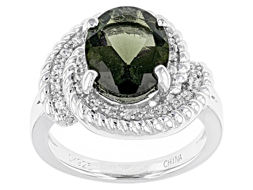 Photo of 1.49ct Oval Moldavite And .16ctw Round White Zircon Sterling Silver Ring - Size 7