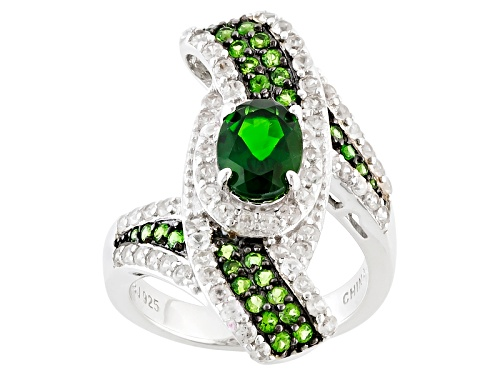 Photo of 1.56ctw Oval And Round Chrome Diopside With 1.25ctw Round White Zircon Sterling Silver Ring - Size 7