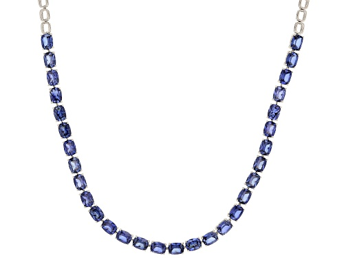 Photo of 43.80ctw Rectangular Cushion Lab Created Blue Sapphire Rhodium Over Sterling Silver Necklace - Size 18