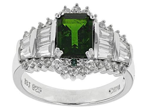 Photo of 1.76ctw Emerald Cut Chrome Diopside, .02ctw 2 Green Diamond Accent, 1.53ctw White Zircon Silver Ring - Size 12