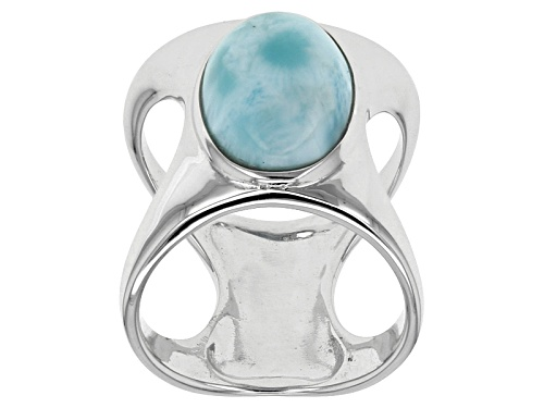 Photo of 14x10mm Oval Cabochon Larimar Solitaire Sterling Silver Ring - Size 6.5