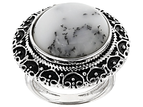 Photo of 16mm Round Cabochon Dendritic Opal Sterling Silver Solitaire Ring - Size 5