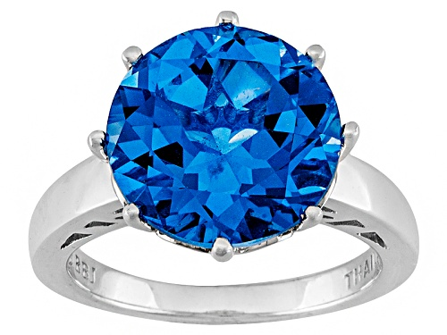 Photo of 4.46ct Round Lab Created Blue Spinel Solitaire Rhodium Over Sterling Silver Ring - Size 5