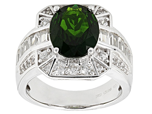 Photo of 2.17ct Oval Chrome Diopside With 1.27ctw Baguette And Round White Zircon Sterling Silver Ring - Size 5