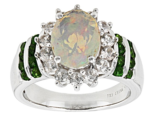 Photo of .93ct Oval Ethiopian Opal, .70ctw White Zircon And .29ctw Chrome Diopside Sterling Silver Ring - Size 12