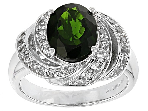 Photo of 2.17ct Oval Russian Chrome Diopside With .66ctw White Zircon Sterling Silver Ring - Size 12