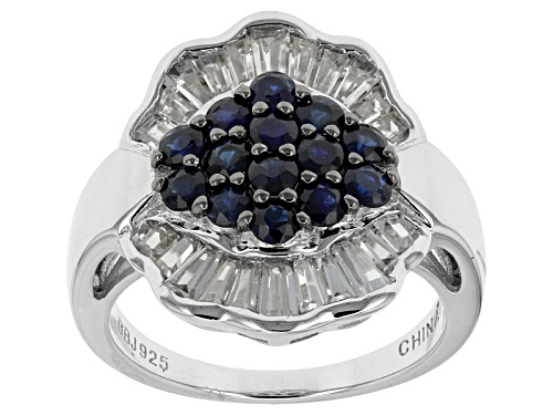Photo of 1.00ctw Round Blue Kanchanaburi Sapphire With 1.17ctw Baguette White Zircon Sterling Silver Ring - Size 6