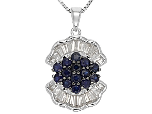 Photo of 1.00ct Round Blue Kanchanaburi Sapphire With 1.17ctw White Zircon Sterling Silver Pendant With Chain