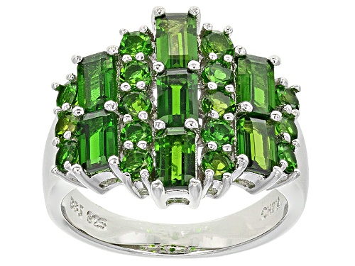 Photo of 3.32ctw Emerald Cut And Round Russian Chrome Diopside Sterling Silver Ring - Size 5