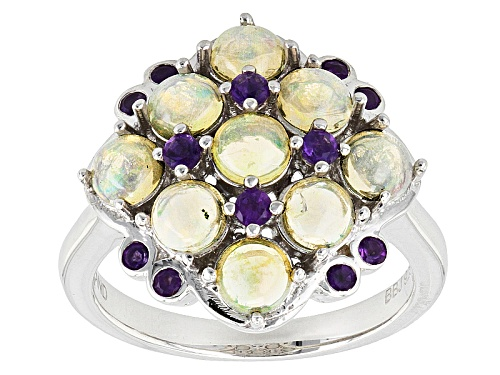 Photo of 1.30ctw Round Ethiopian Opal With .24ctw Round African Amethyst Sterling Silver Ring - Size 5