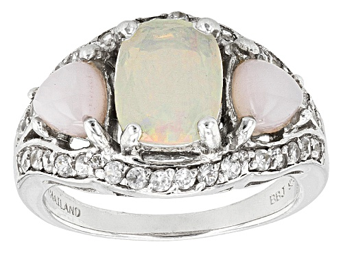 Photo of .95ct Cushion Ethiopian Opal, 5mm Trillion Peruvian Pink Opal And .59ctw White Zircon Silver Ring - Size 5