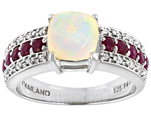 Photo of .77ct Square Cushion Ethiopian Opal, .43ctw Round Ruby And .12ctw Round White Zircon Silver Ring - Size 8