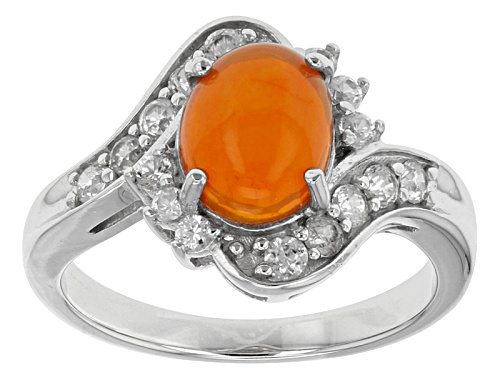 Photo of .85ct Oval Cabochon Orange Ethiopian Opal With .67ctw White Zircon Sterling Silver Ring - Size 12