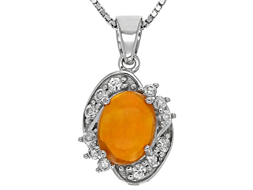 Photo of .85ct Oval Cabochon Orange Ethiopian Opal With .47ctw White Zircon Silver Pendant With Chain
