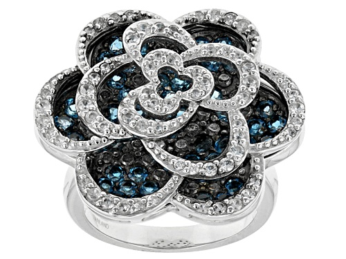 Photo of 2.00ctw Round London Blue Topaz With .74ctw Round White Zircon Sterling Silver Floral Ring - Size 7