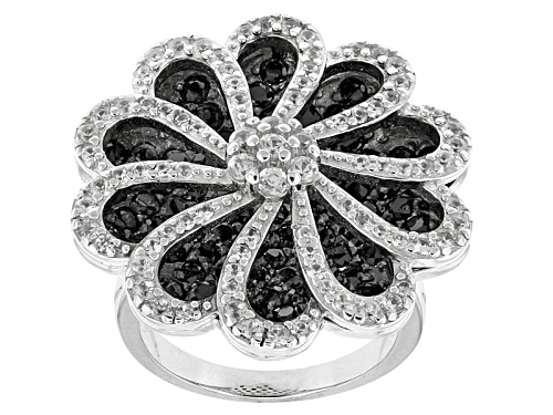 Photo of 3.25ctw Round Black Spinel With 1.26ctw Round White Zircon Sterling Silver Ring - Size 5