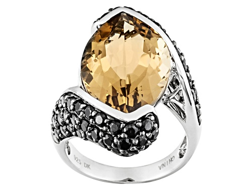 Photo of 10.20ct Marquise Champagne Quartz With 2.12ctw Round Black Spinel Sterling Silver Ring - Size 5