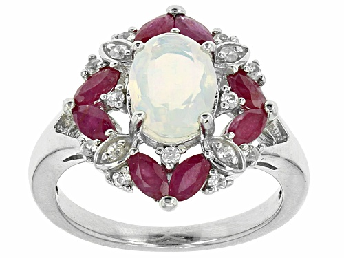Photo of .54ct Oval Ethiopian Opal, .81ctw Marquise Ruby And .12ctw Round White Zircon Sterling Silver Ring - Size 9