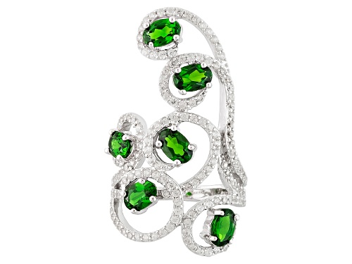 Photo of 2.44ctw Oval Russian Chrome Diopside With 1.14ctw White Zircon Sterling Silver Ring - Size 5