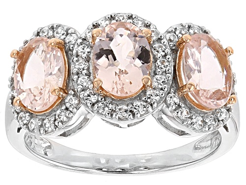Photo of 1.78ctw Oval Morganite With .32ctw Round White Zircon Sterling Silver Three-Stone Ring - Size 12