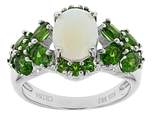 Photo of .79ct Oval Ethiopian Opal With 1.86ctw Russian Chrome Diopside Sterling Silver Ring - Size 4