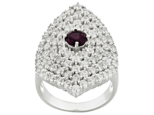 Photo of .47ct Round Raspberry color Rhodolite With 4.01ctw Round White Zircon Sterling Silver Ring - Size 6