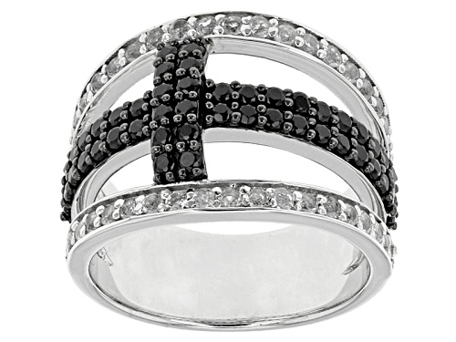 .96ctw Round Black Spinel And .76ctw Round White Topaz Sterling Silver Cross Ring - Size 6