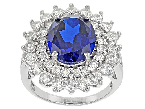 Photo of 4.25ct Oval Lab Created Blue Spinel With 2.64ctw Round White Zircon Sterling Silver Ring - Size 4