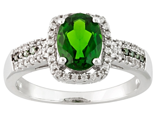 Photo of 1.10ct Oval Russian Chrome Diopside, .25ctw White Zircon And .03ctw Green Diamond Accent Silver Ring - Size 12