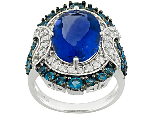 Photo of 7.00ct Color Change Blue Fluorite With .90ctw London Blue Topaz And .51ctw White Zircon Silver Ring - Size 5