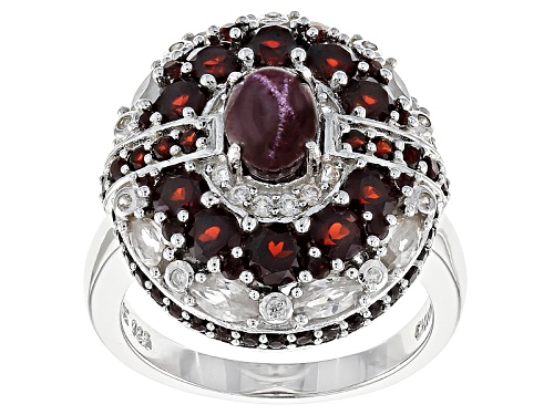 Photo of 1.15ct Oval Cabochon Star Garnet, 2.47ctw Vermelho Garnet™, 1.18ctw White Zircon Silver Ring - Size 12