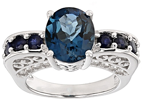 Photo of 3.85ct London Blue Topaz With 1.02ctw Blue Sapphire And .68ctw White Zircon Sterling Silver Ring - Size 8