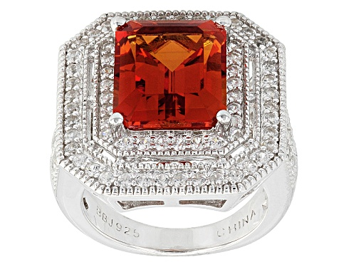 Photo of 5.22ct Emerald Cut Lab Created Padparadscha Sapphire With .81ctw Round White Zircon Silver Ring - Size 4