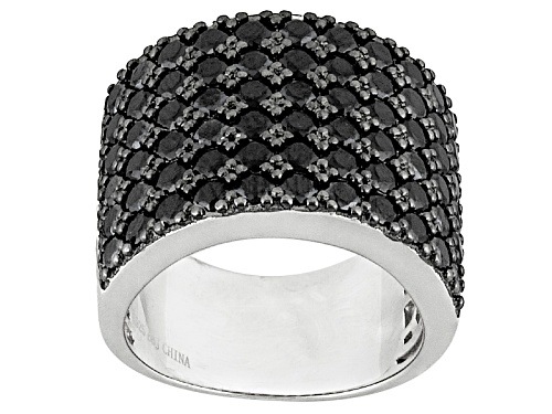 Photo of 4.32ctw Round Black Spinel Sterling Silver Band Ring - Size 6