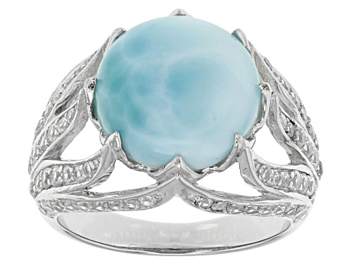 Photo of 12mm Round Cabochon Larimar And .91ctw Round White Zircon Sterling Silver Ring - Size 6