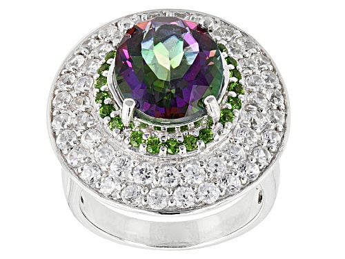 Photo of 3.70ct Multicolor Quartz With .33ctw Russian Chrome Diopside And 3.07ctw White Zircon Silver Ring - Size 7